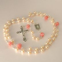 Rosary Beads for A Girl, Pink Pearls and Rose Beads